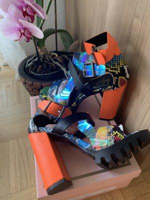 Crazy Schnallen Sandaletten - Orange/Multicolour - Animal - Größe 36