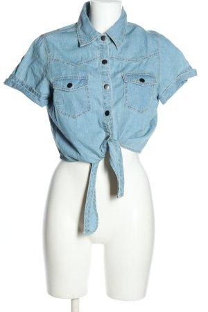 Crazy World Kurzarm-Bluse blau Casual-Look Baumwolle