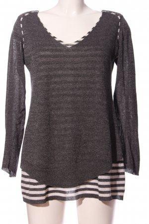 Crea Concept V-Ausschnitt-Pullover hellgrau-weiß Streifenmuster Casual-Look