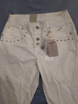 Cream Pantalón tobillero blanco