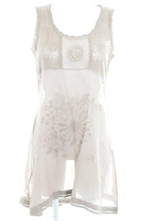 Cream A-Linien Kleid graubraun Blumenmuster Stickereiverzierung