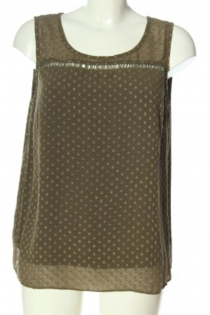 Cream ärmellose Bluse khaki Allover-Druck Casual-Look