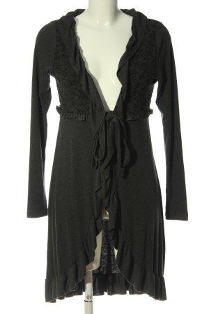 Cream Cárdigan gris claro-negro estampado con diseño abstracto elegante