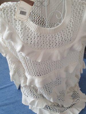 Cream Crochet Sweater white