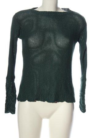 Cream Jersey de ganchillo verde look casual