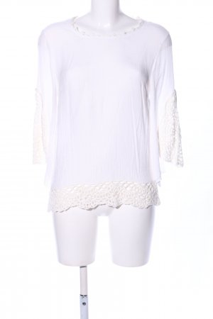 Cream Camisa de ganchillo blanco look casual