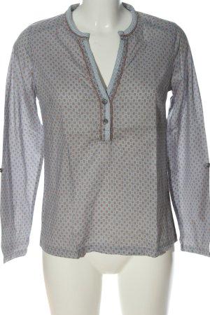 Cream Hemd-Bluse blau-braun Allover-Druck Casual-Look