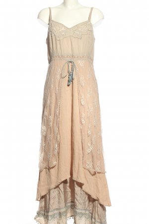 Cream Hippie Dress cream-light grey allover print casual look