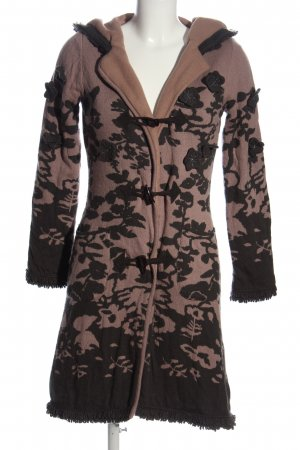 Cream Hooded Coat black-pink flower pattern elegant