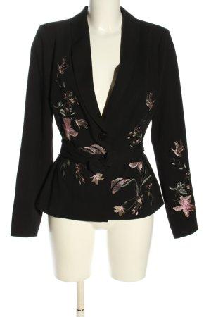 Cream Kurz-Blazer schwarz-silberfarben Blumenmuster Casual-Look