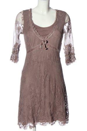Cream Sukienka z krótkim rękawem brązowy Wzór w kwiaty Elegancki