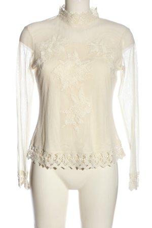 Cream Langarm-Bluse wollweiß klassischer Stil