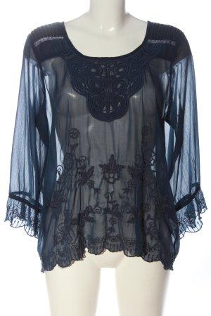 Cream Langarm-Bluse blau Webmuster Elegant