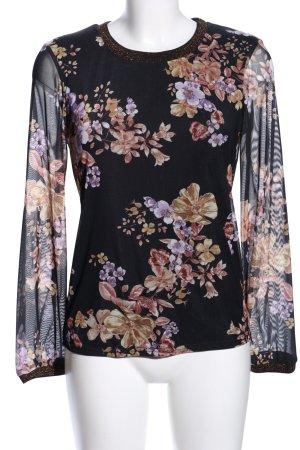 Cream Langarm-Bluse Blumenmuster Business-Look