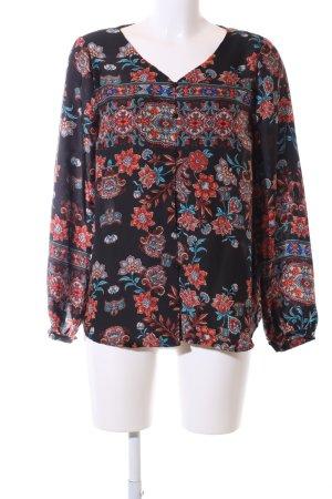 Cream Langarm-Bluse Blumenmuster Casual-Look