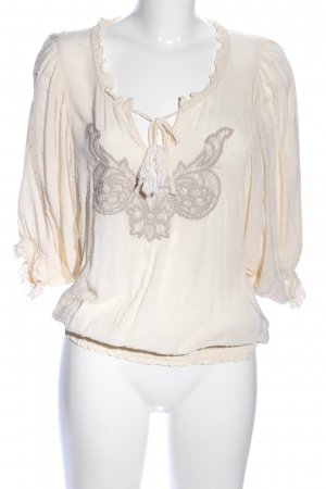 Cream Langarm-Bluse creme Motivdruck Casual-Look