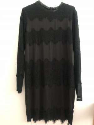 Cream Vestido de manga larga negro