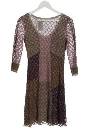 Cream Longsleeve Dress allover print casual look