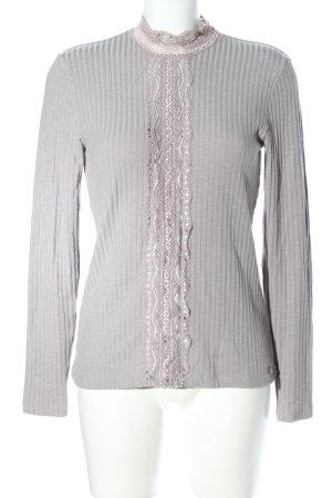 Cream Ribbed Shirt light grey casual look