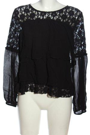 Cream Schlupf-Bluse schwarz Webmuster Casual-Look