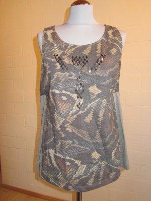 CREAM: Shirt mit Pailletten vorn, Gr. L 40/42