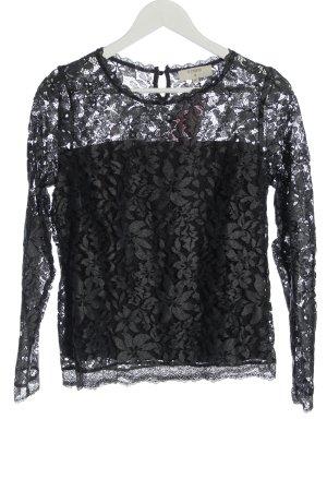 Cream Lace Blouse light grey-black allover print elegant