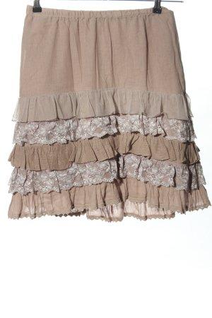 Cream Falda de encaje blanco puro look casual