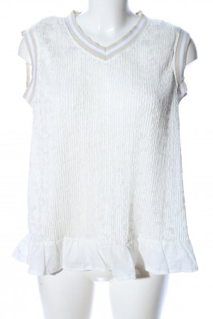 Cream Spitzentop weiß-wollweiß abstraktes Muster Business-Look