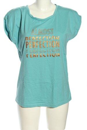 Cream T-Shirt türkis-goldfarben Schriftzug gedruckt Casual-Look
