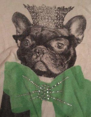 ❤️CREAM❤️ T-Shirt Gr. S Bulldogge creme weiß grün Spitze wNEU