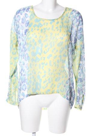 Cream Transparenz-Bluse blassgelb-blau Leomuster Casual-Look