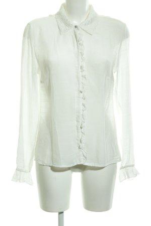 Cream Transparenz-Bluse wollweiß Spitzenbesatz