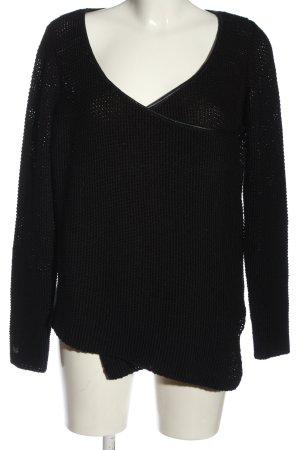 Cream V-Ausschnitt-Pullover schwarz Casual-Look