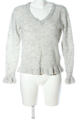 Cream V-Ausschnitt-Pullover hellgrau meliert Casual-Look