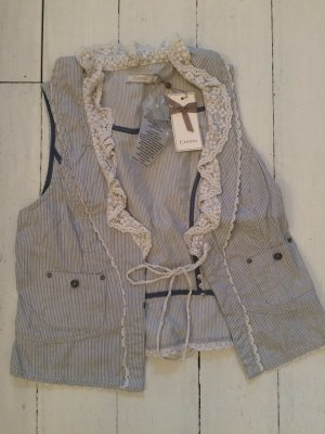 Cream Fringed Vest white-slate-gray