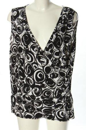 Creation L. Schlupf-Bluse weiß-schwarz grafisches Muster Casual-Look