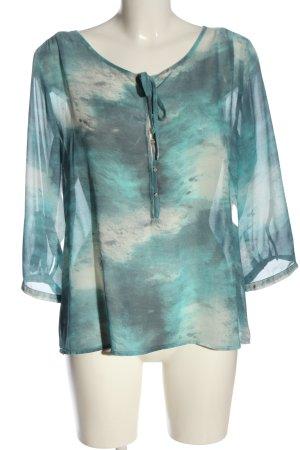 Creation L. Blouse transparente turquoise-blanc gradient de couleur