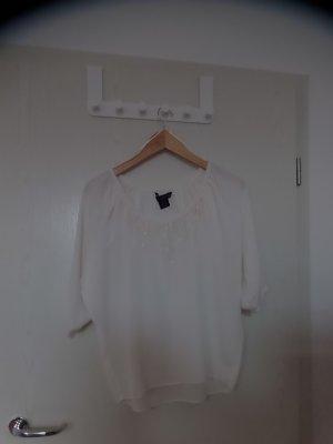 Creme-farbene Bluse von Calvin Klein mit Pailletten