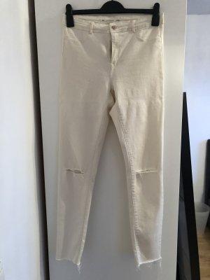 Creme farbene high waist Jeans