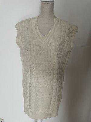 Effeny Długi sweter bez rękawów w kolorze białej wełny-kremowy