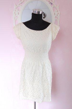 creme, Spitzen Kleid, Größe S