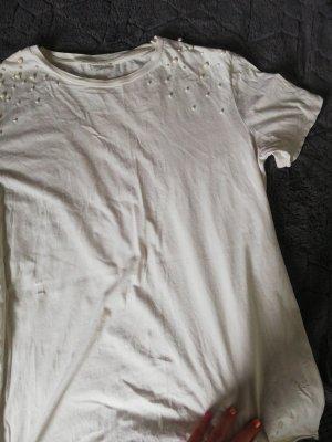 Creme T-Shirt mit Perlen