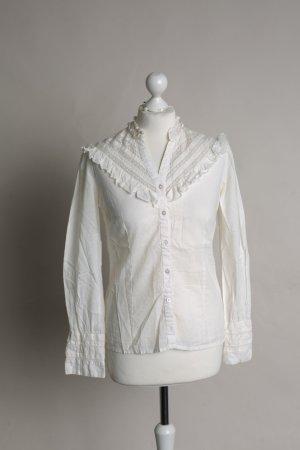 Creme-weisse Bluse mit Stehkragen, Spitze und Rüschen NEU von ICHI