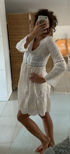 Robe de plage blanc cassé-crème coton
