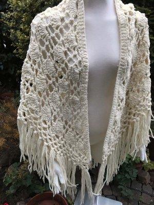 cremefaerbener Woll Poncho Handarbeit Wolle Strick Pullover Jacke Blogger Vintage