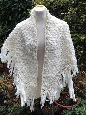 cremefaerbener Woll Poncho Handarbeit Wolle Strick Pullover Jacke Vintage
