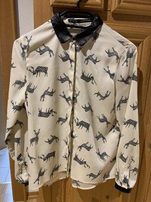 Cremefarbene Bluse mit Elchen
