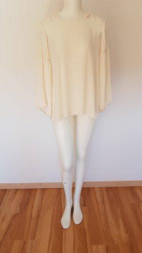 Cremefarbene Bluse miz Kapuze von Zara Gr. S