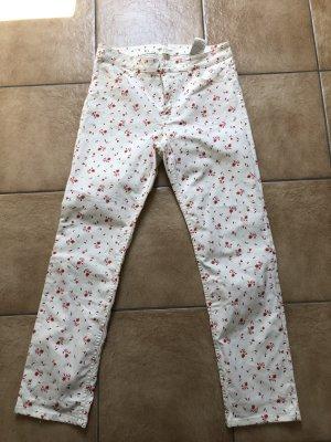 cremefarbene Hose mit roten Blumen  von H&M - Gr. 42