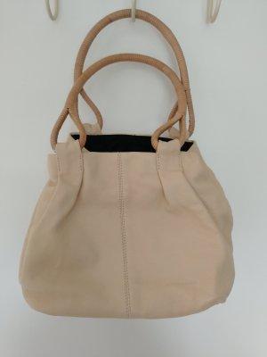 cremefarbene Lederhandtasche